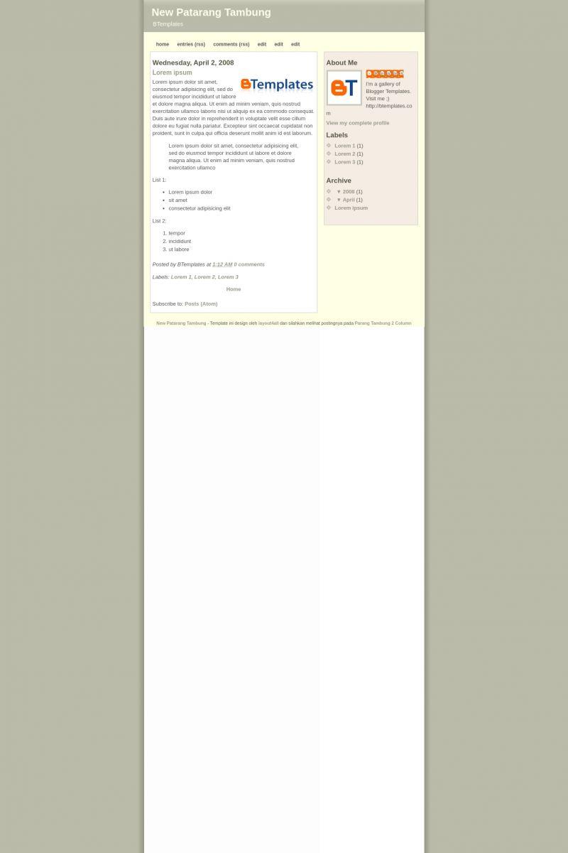 Download New Patarang Tambung Blogger Template