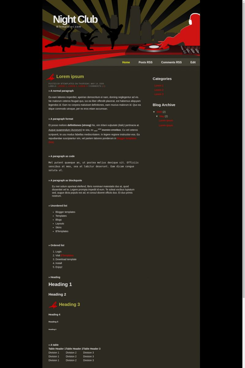 Download Night Club Blogger Template