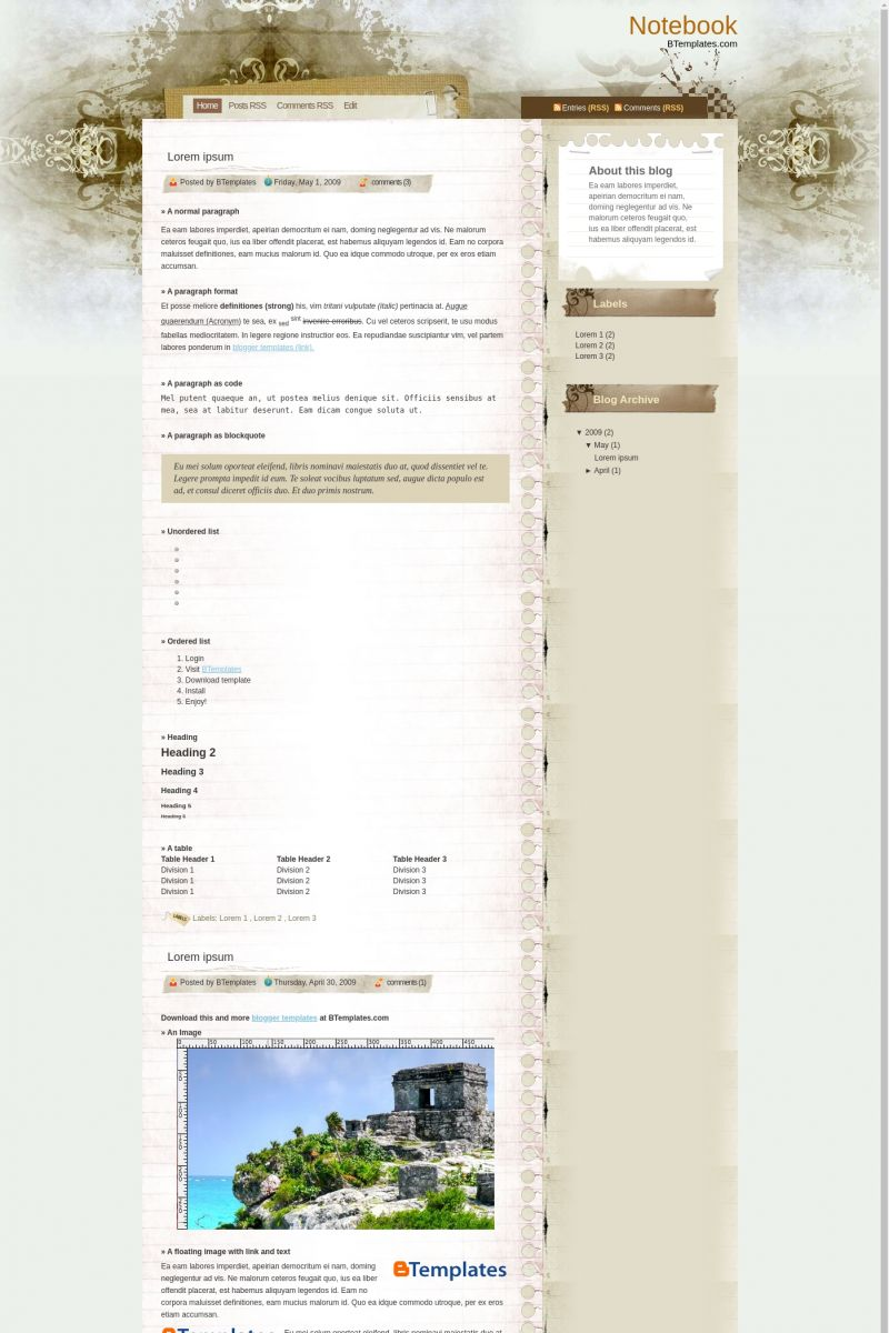 Download Notebook Blogger Template
