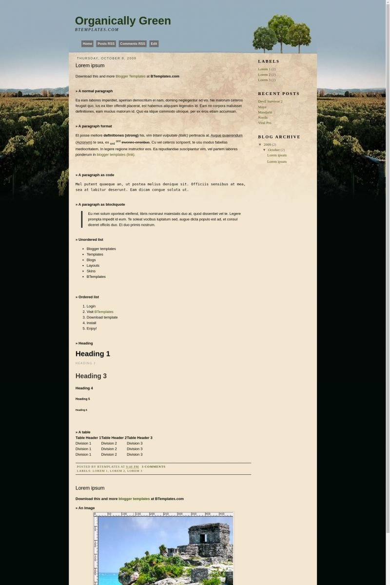 Download Organically Green Blogger Template