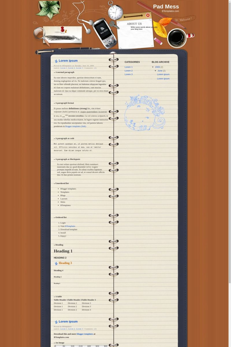 Download Pad Mess Blogger Template