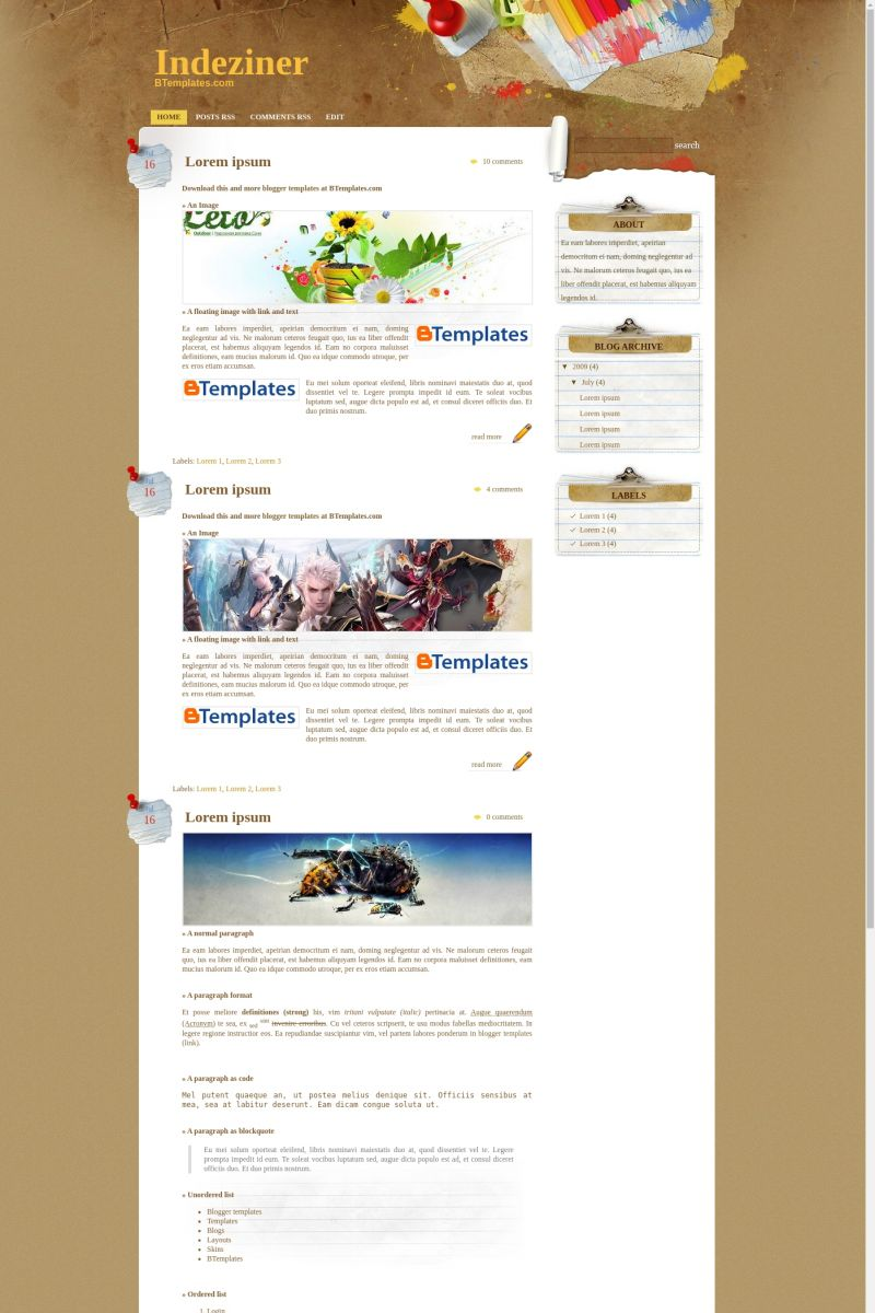 Download Paper Wall Blogger Template