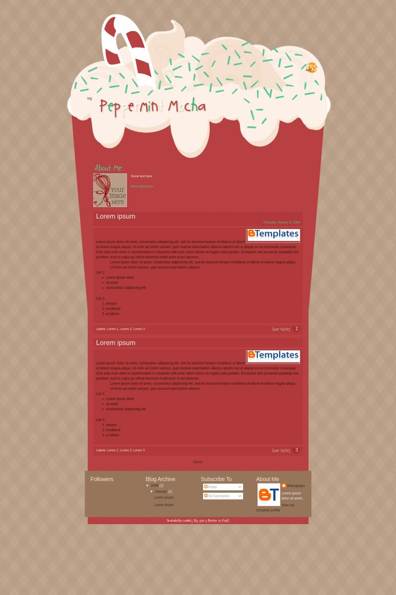 Download Peppermint Mocha Blogger Template