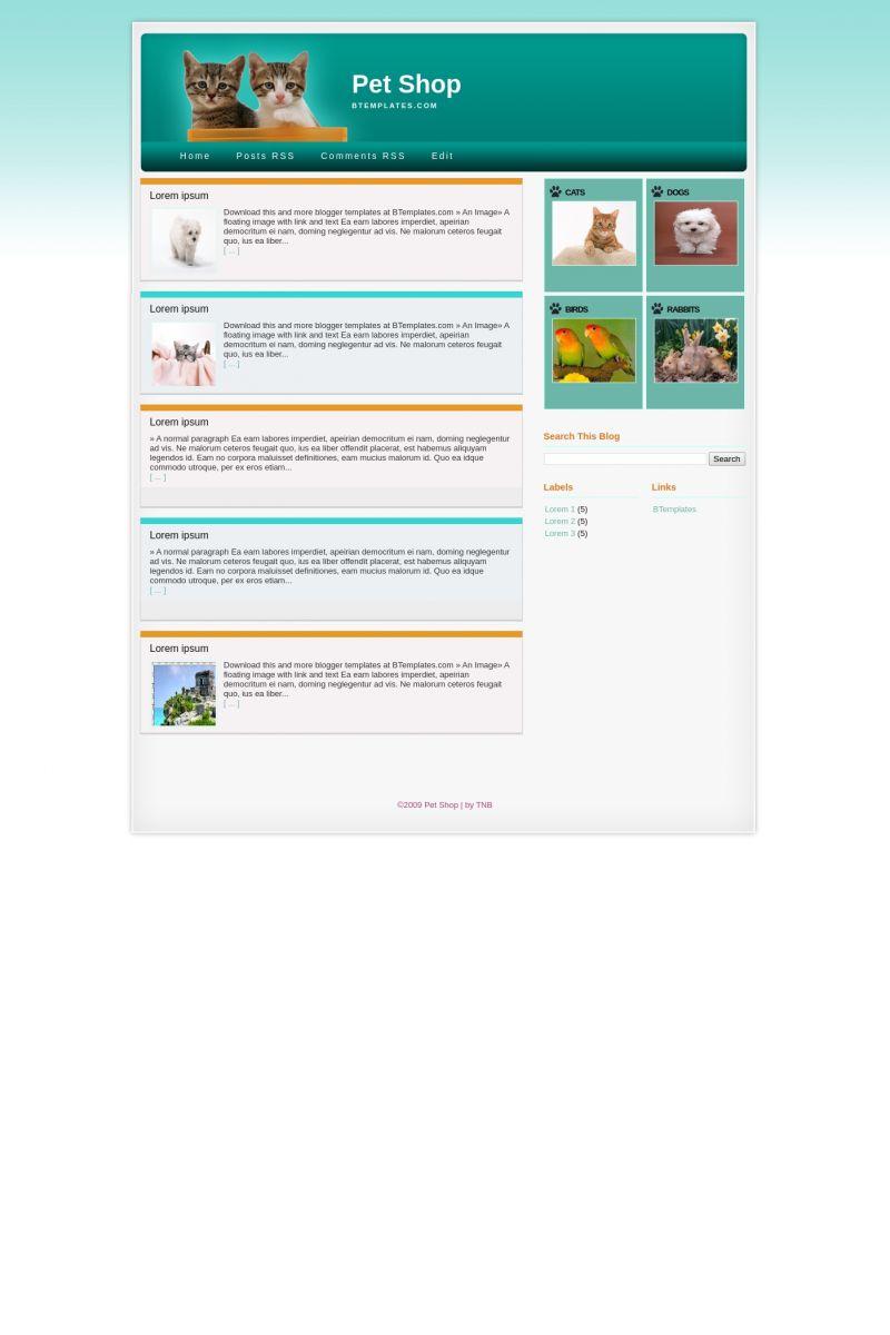 Download Pet Shop Blogger Template