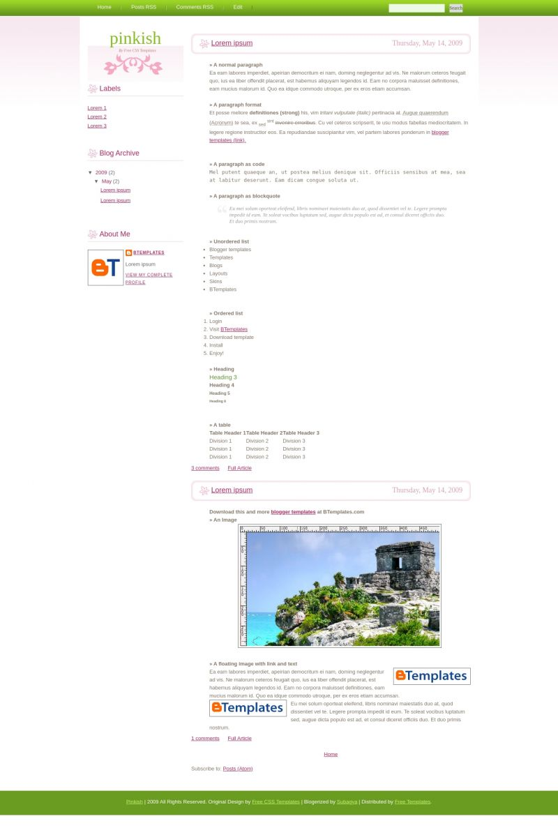 Download Pinkish Blogger Template