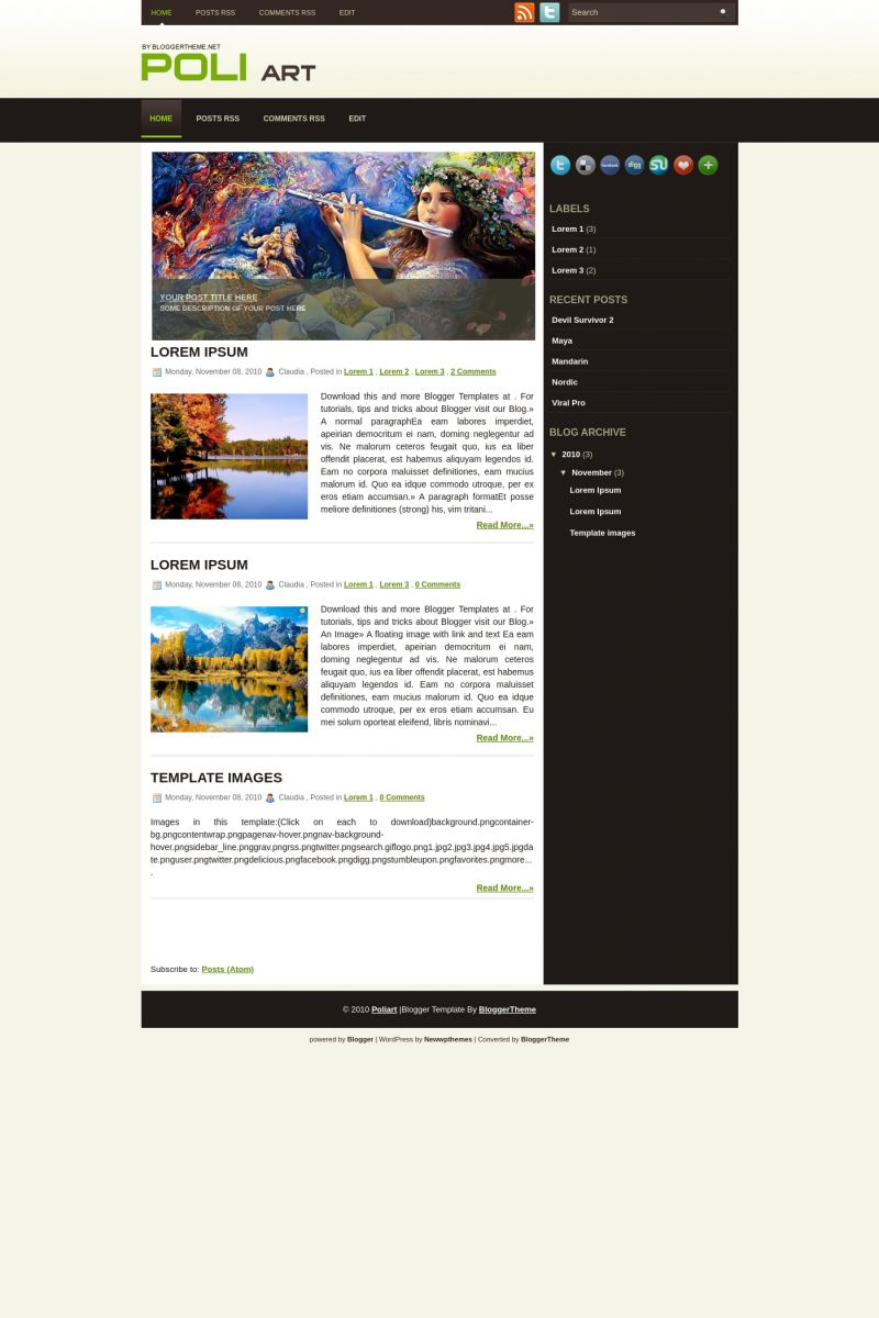Download Poliart Blogger Template