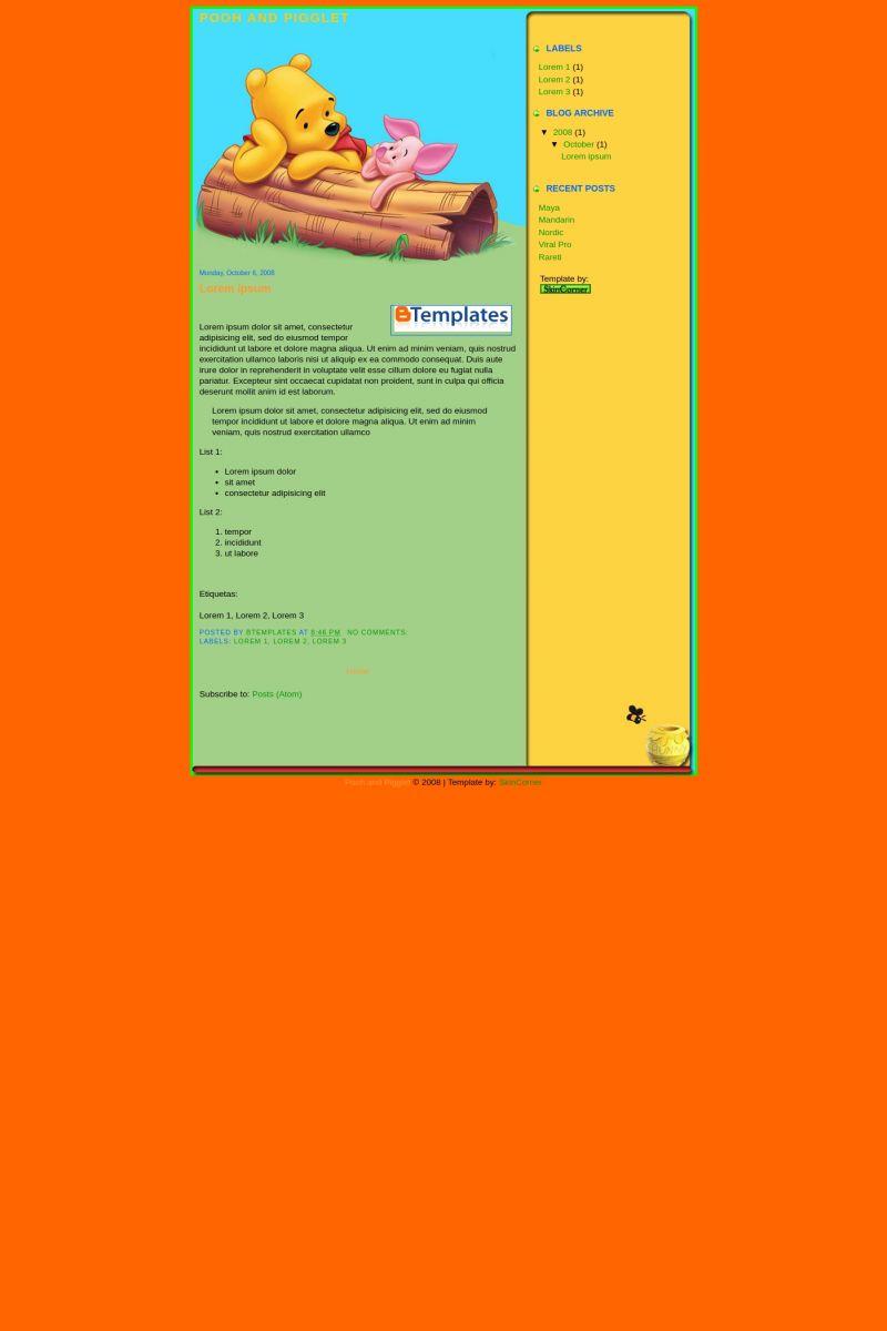 Download Pooh & Pigglet 1 Blogger Template