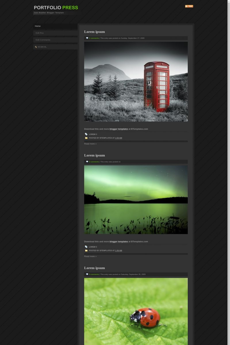 Download Portfolio Press Blogger Template