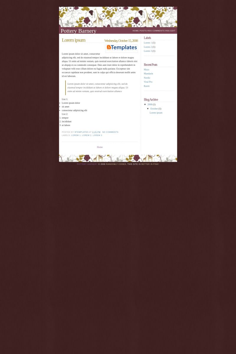 Download Pottery Barnery Blogger Template