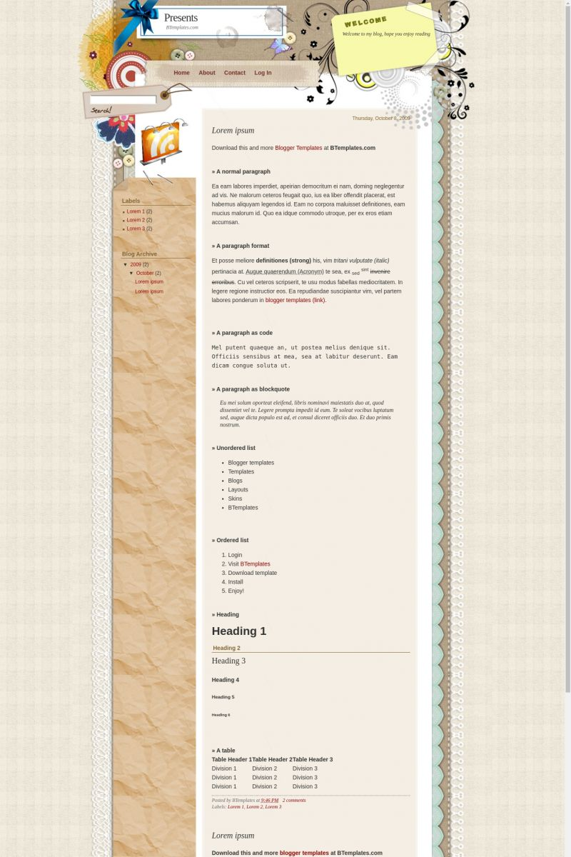 Download Presents Blogger Template