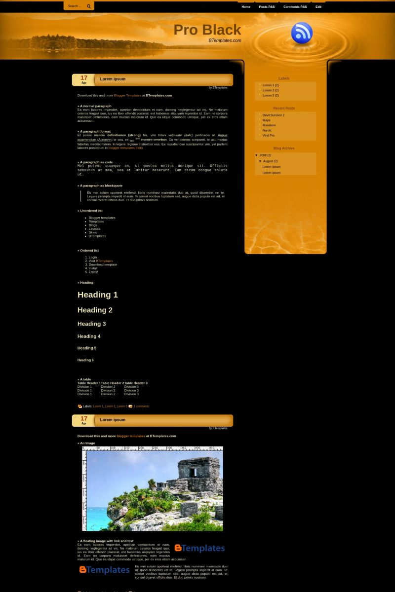 Download Pro Black Blogger Template