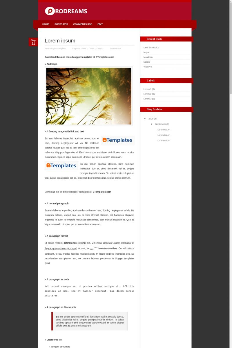 Download ProDreams Blogger Template