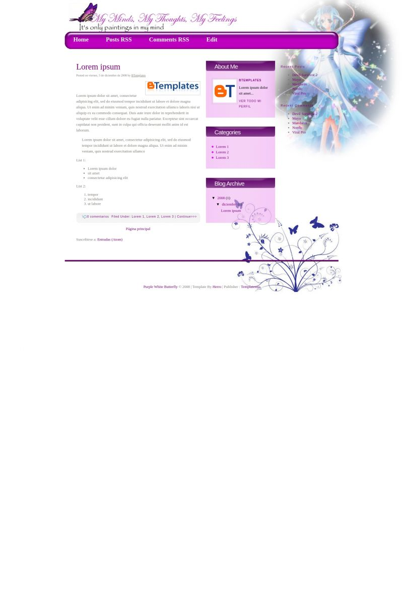 Download Purple White Butterfly Blogger Template