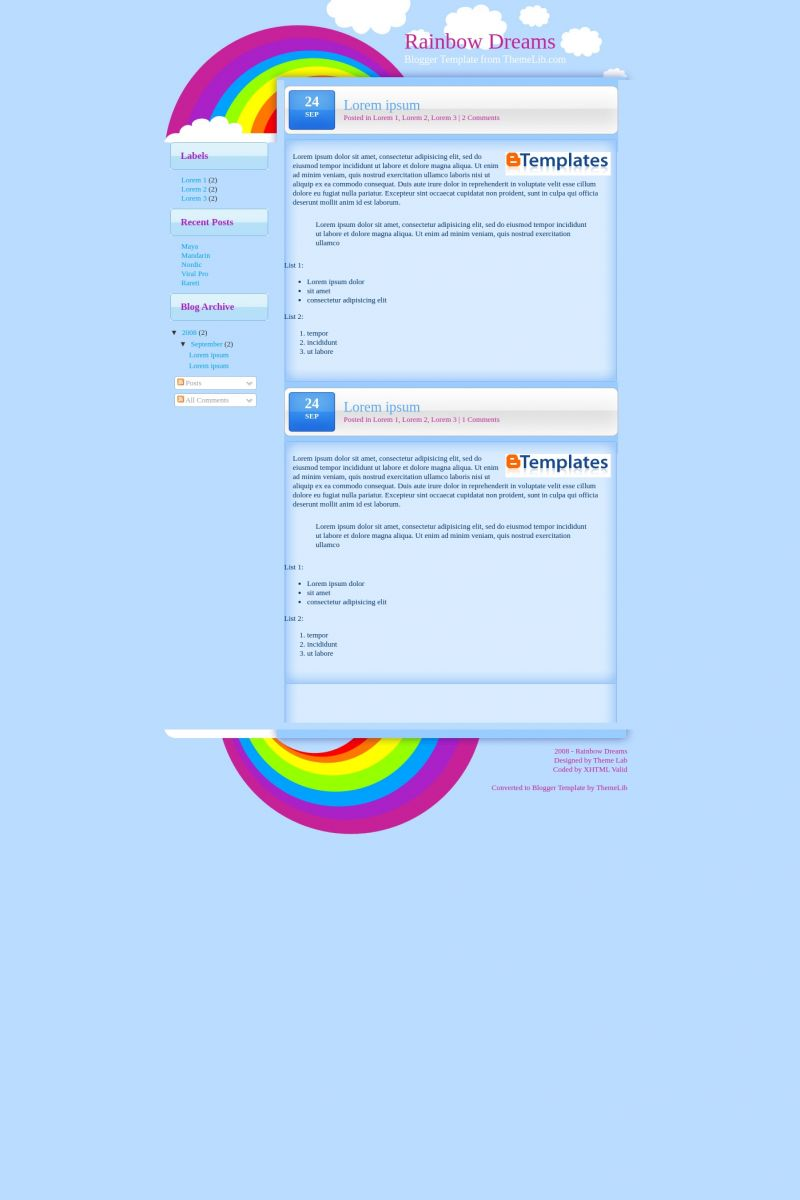Download Rainbow Dreams Blogger Template