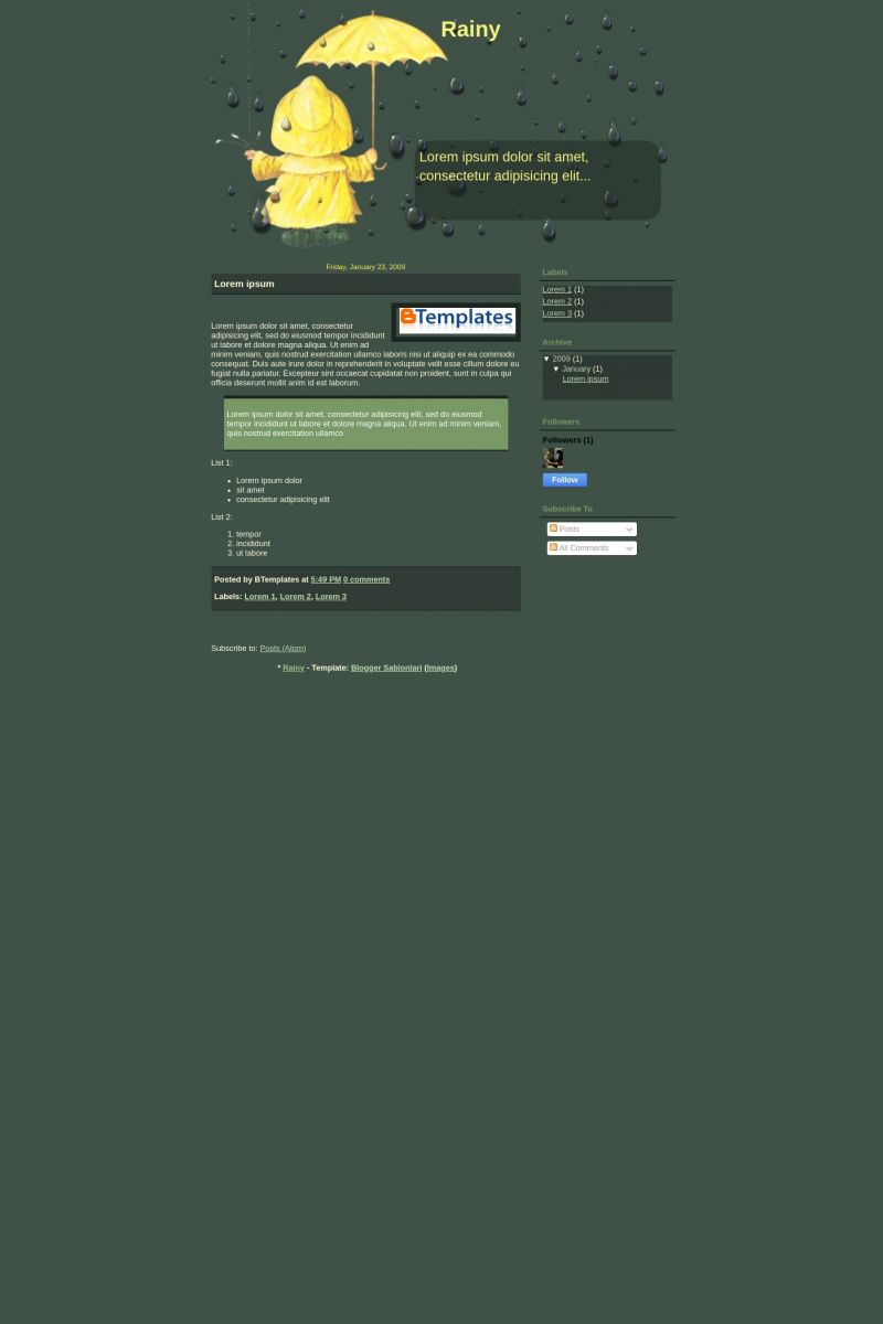 Download Rainy Blogger Template
