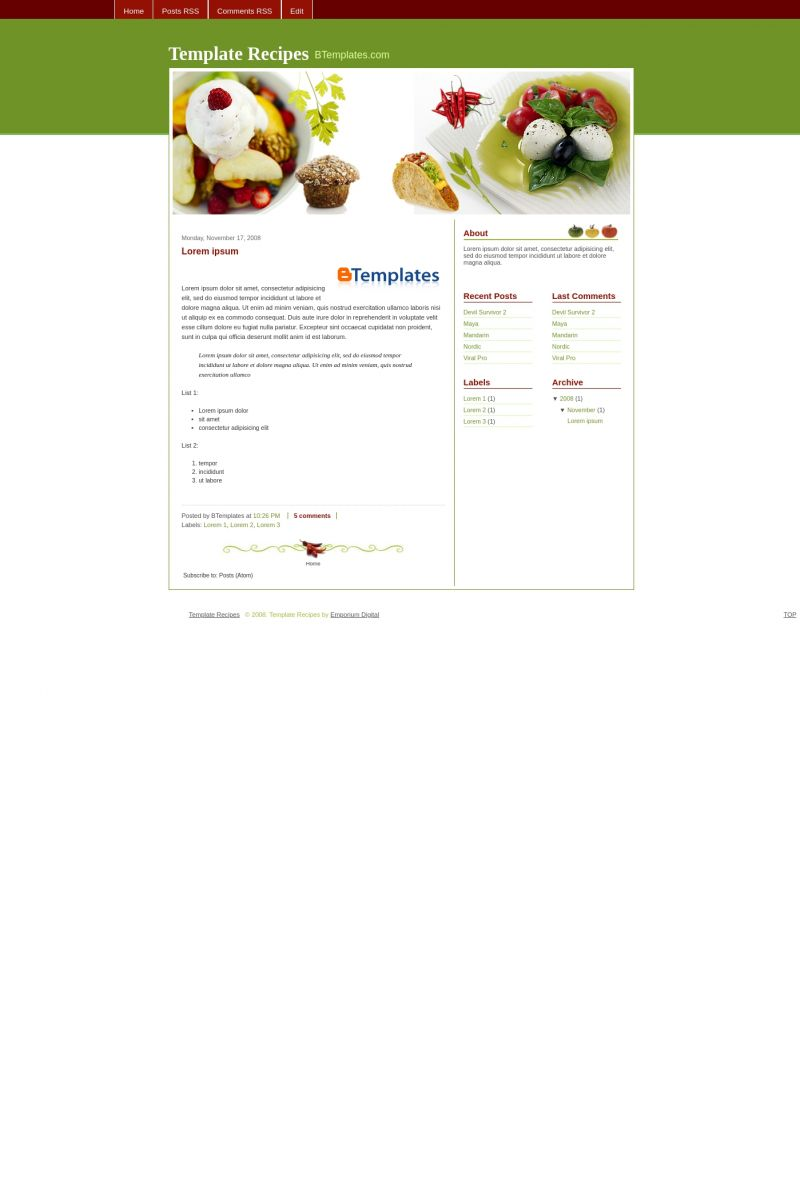 Download Recipes Blogger Template
