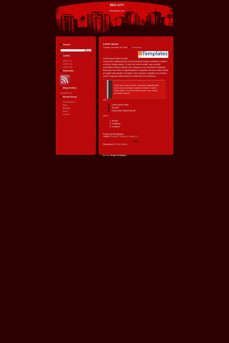 Download Red City Blogger Template
