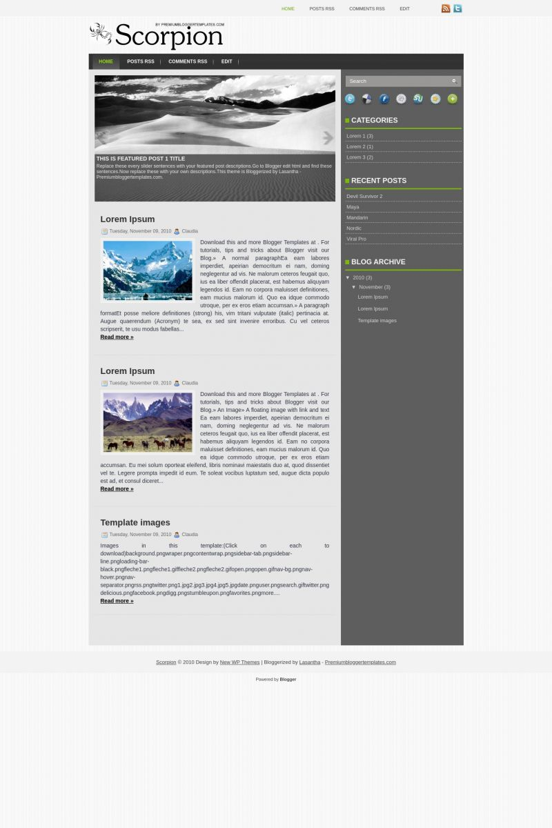 Download Scorpion Blogger Template