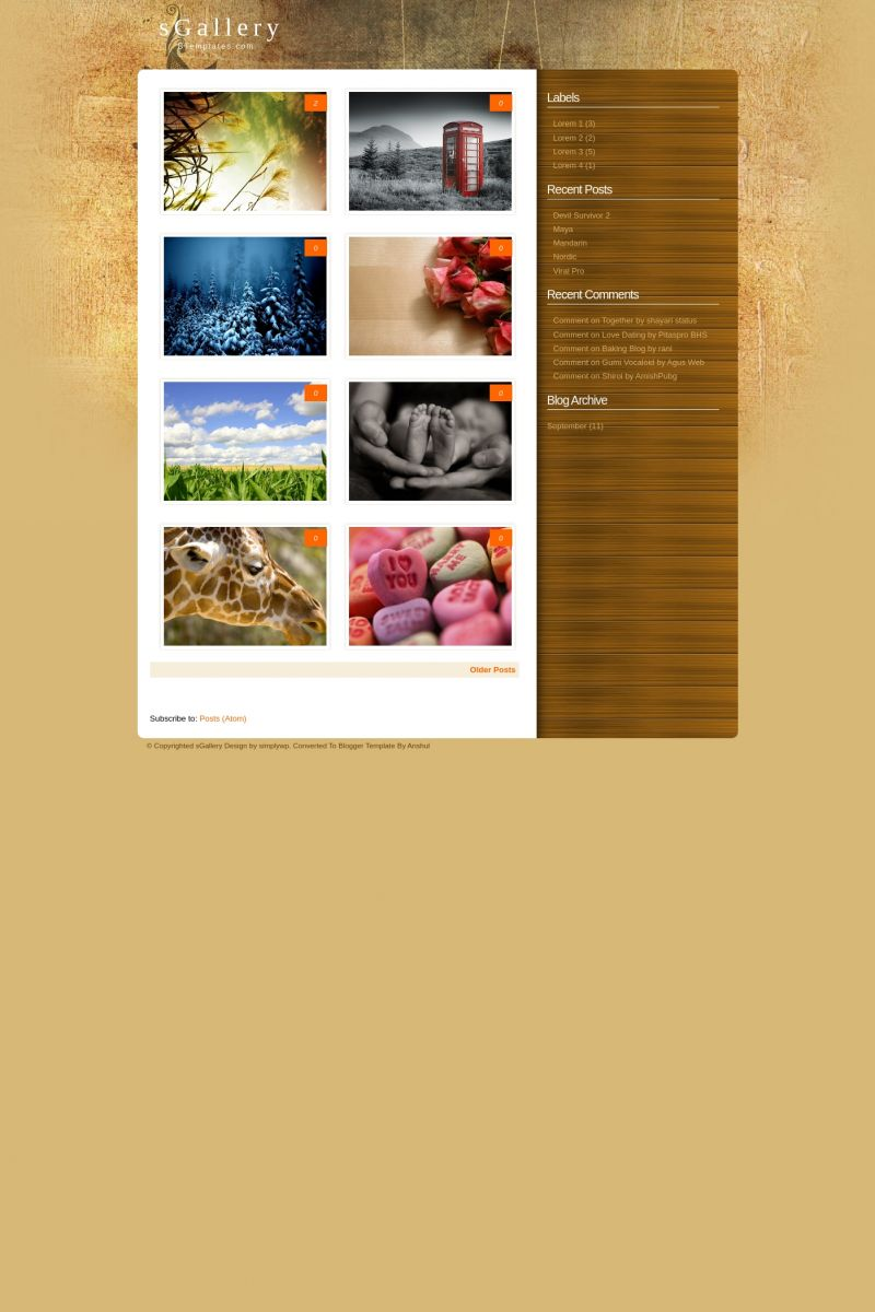 Download sGallery Blogger Template