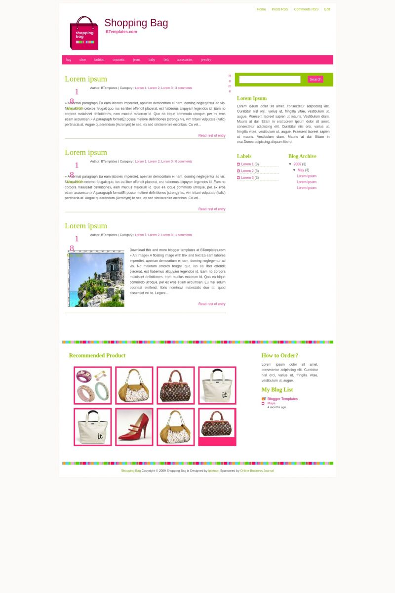 Download Shopping Bag Blogger Template