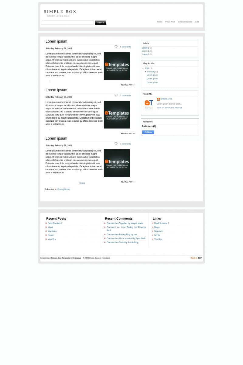 Download Simple Box Blogger Template