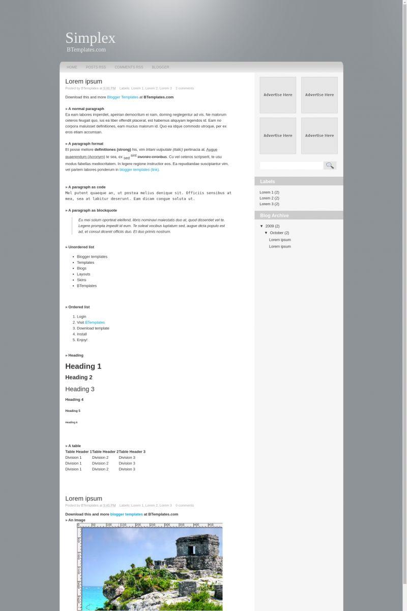 Download Simplex Blogger Template