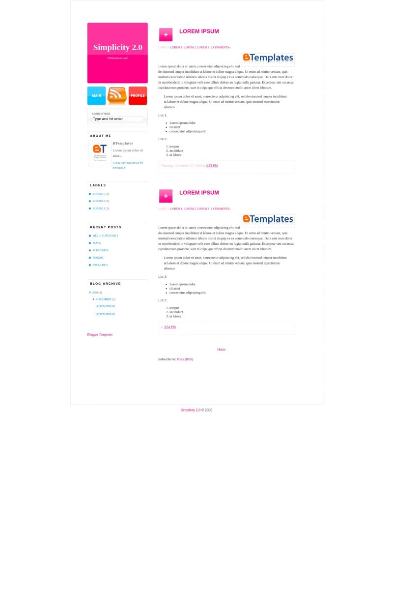 Download Simplicity 2.0 Blogger Template