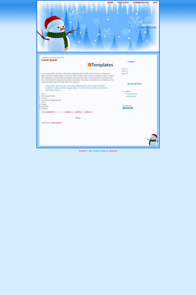 Download Snowman Blogger Template