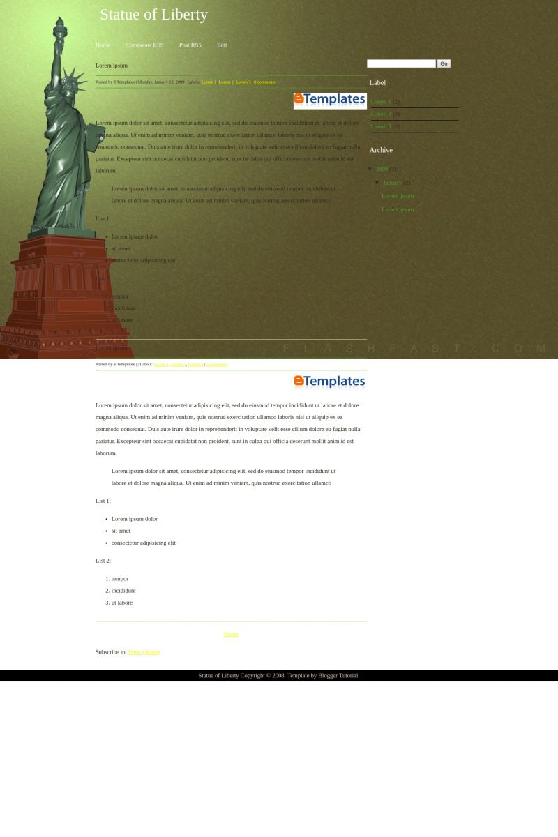 Download Statue of Liberty Blogger Template