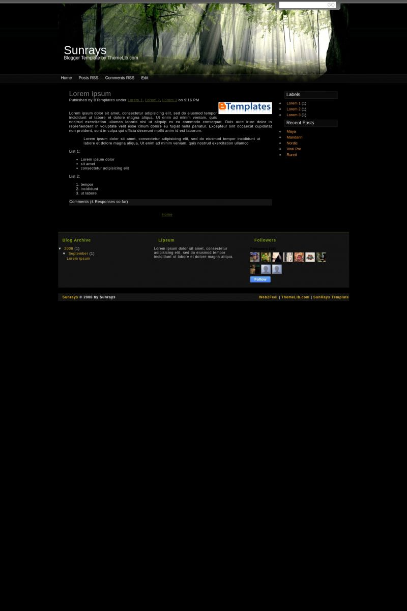 Download Sunrays Blogger Template