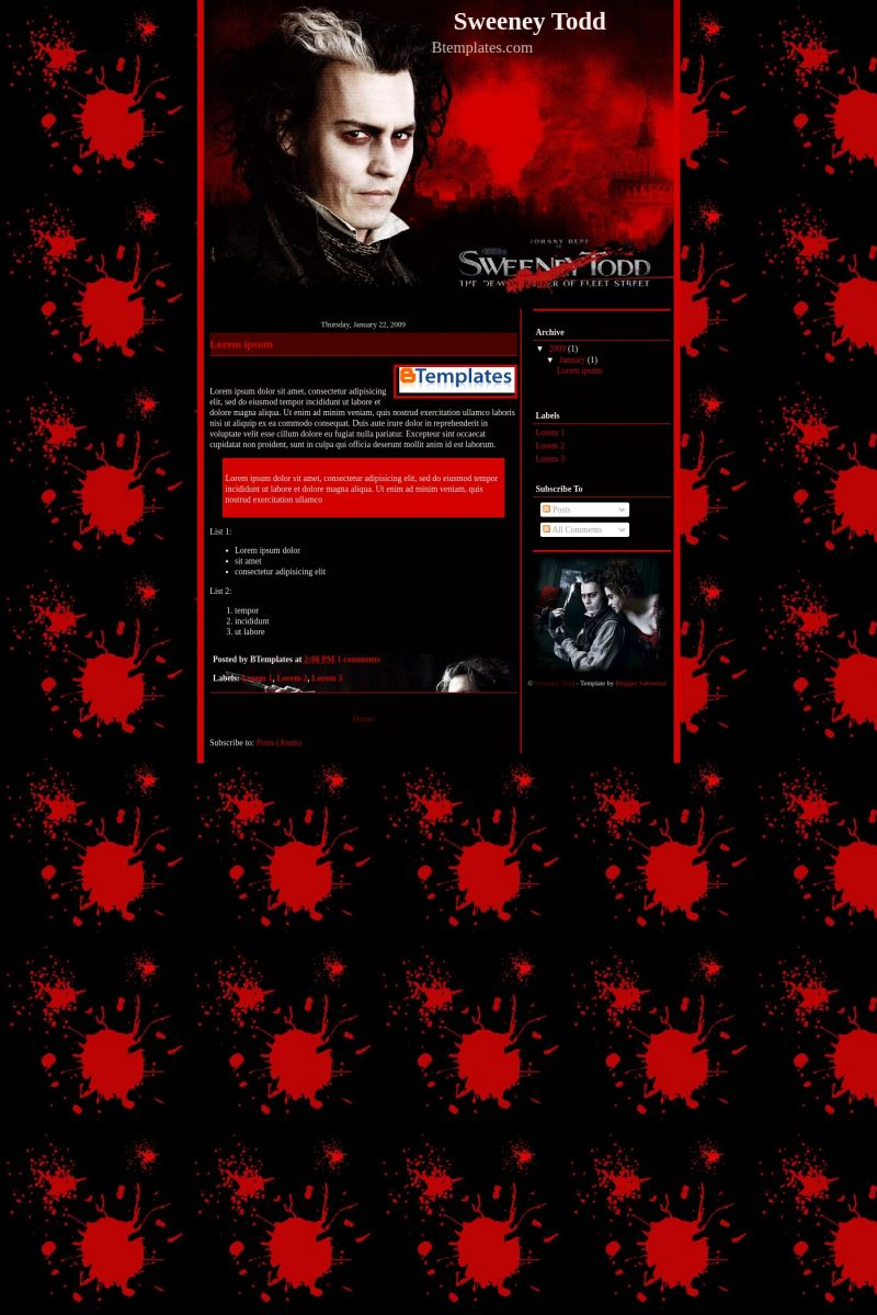 Download Sweeney Todd Blogger Template