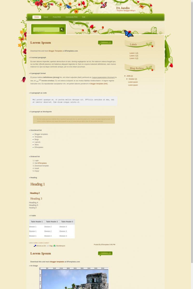 Download TA Jardin Blogger Template