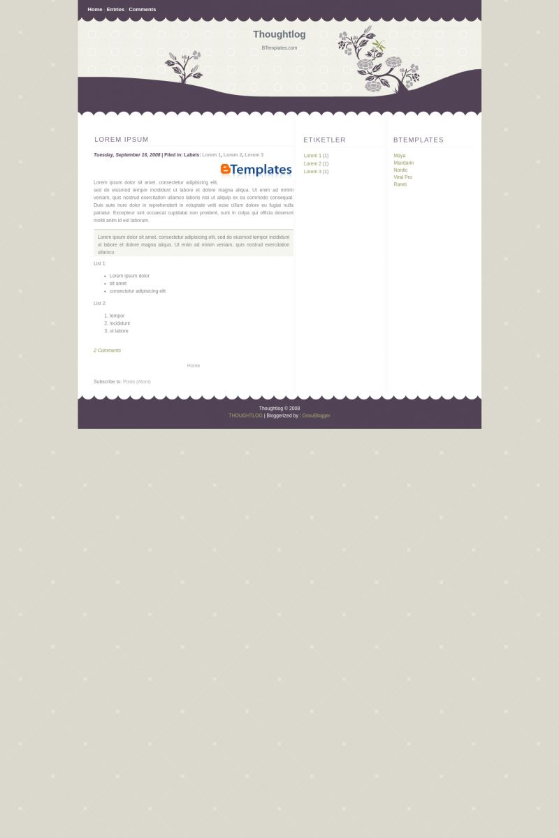 Download Thoughtlog Blogger Template