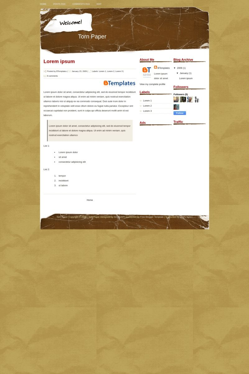 Download Torn Paper Blogger Template