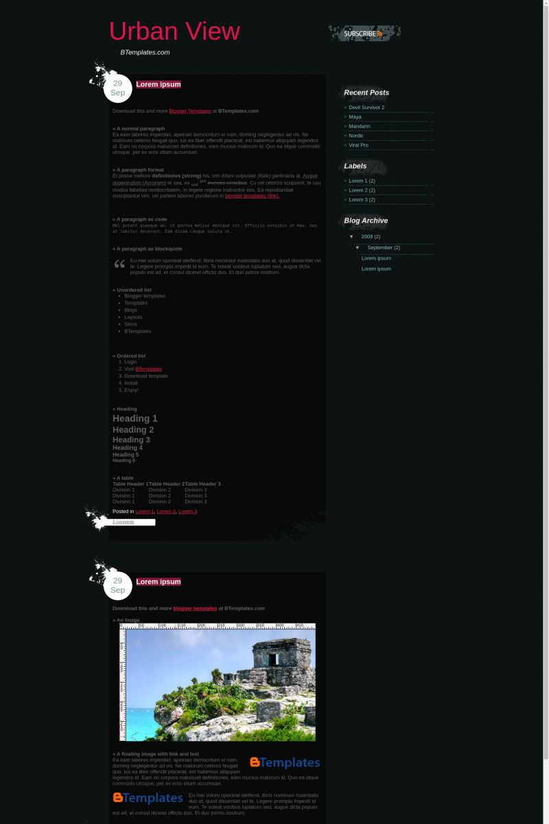 Download Urban View Blogger Template