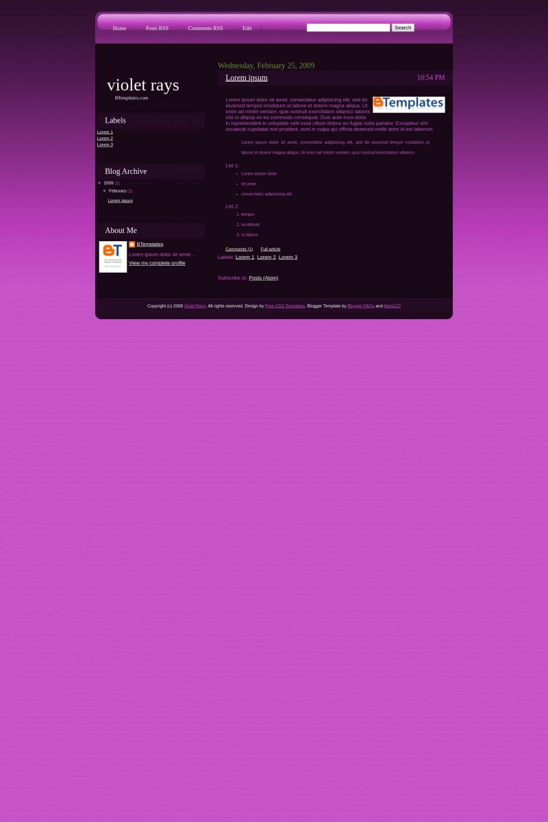 Download Violet Rays Blogger Template