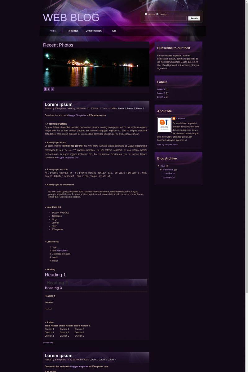 Download Web Blog Blogger Template
