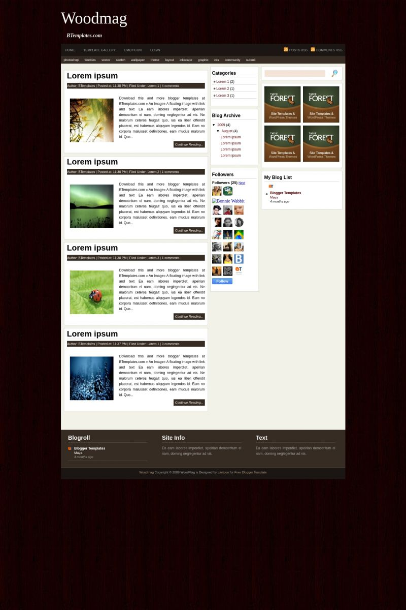 Download Woodmag Blogger Template