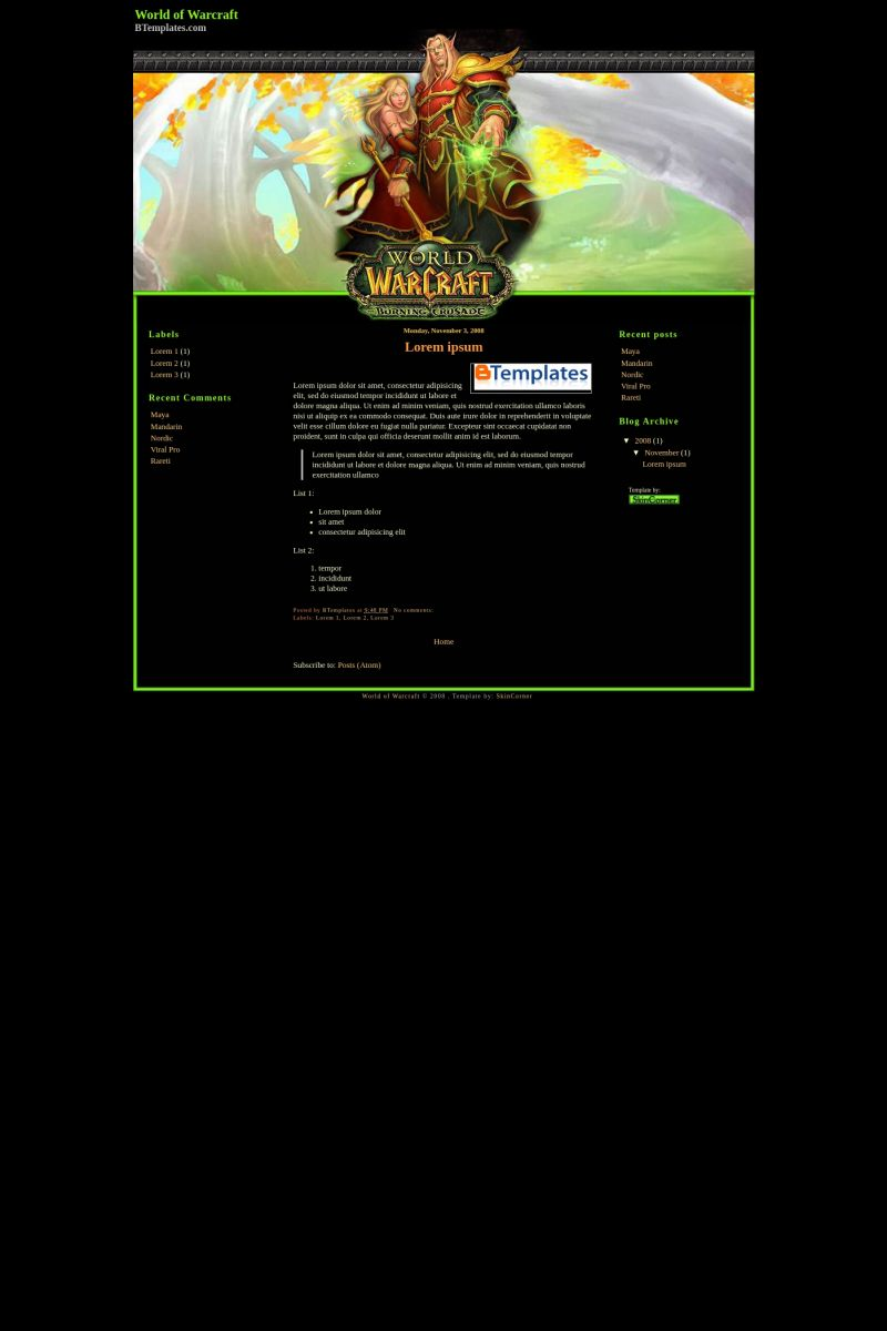 Download World of Warcraft Second Blogger Template
