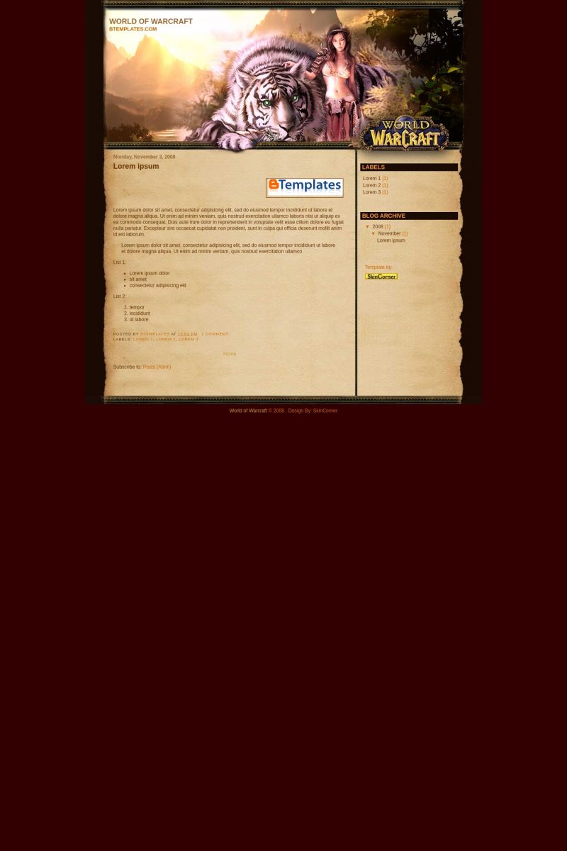 Download World of Warcraft Third Blogger Template