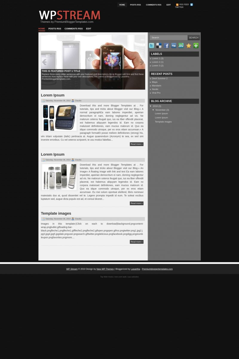 Download WP Stream Blogger Template