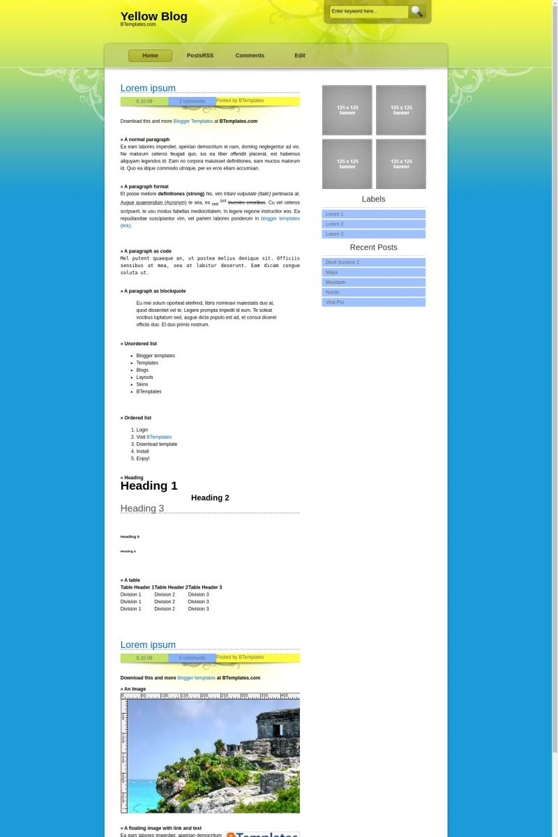 Download Yellow Blog Blogger Template